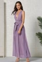 Vestido largo sin mangas violeta profundo de verano