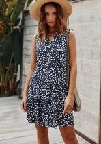 Vestido corto sin mangas de una línea de leopardo informal de verano
