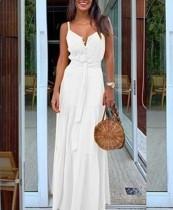 Vestido largo de tirantes transparentes de verano con cinturón