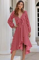 Vestido largo irregular de manga larga con rayas de verano