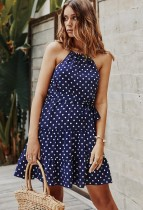 Summer Dot Print Halter Skater Dress