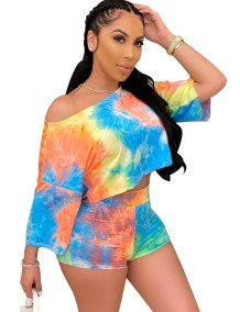 Summer Sexy Tie Dye Two Piece Shorts Set
