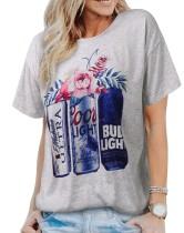 Graues O-Ausschnitt-Hemd mit Sommerdruck