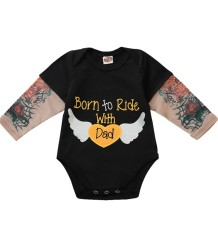 Baby Boy Print Black Long Sleeve Bodysuit Rompers