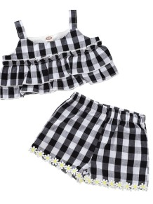 Kids Girl Summer Plaid Two Piece Short Set