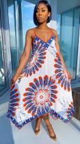 Robe longue d'été africaine à bretelles imprimées et évasées