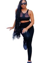 Conjunto de sujetador y legging sexy deportivo negro