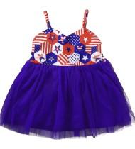 Vestido de malla con tirantes estampados de verano para niña