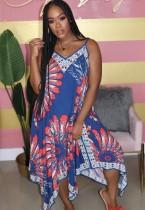 Summer African Fit und Flare Print Straps Langes Kleid