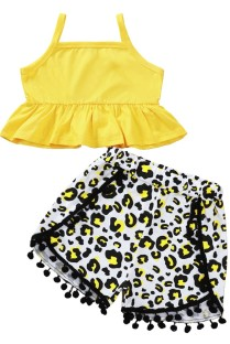 Kids Girl Summer Print Two Piece Shorts Set