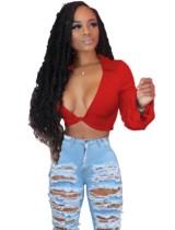 Sexy Sheer African Long Sleeve Crop Top