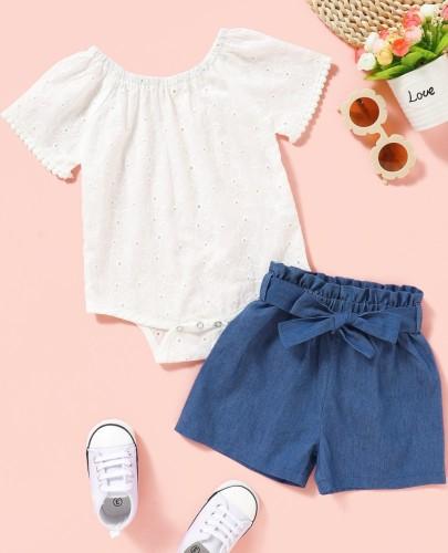 Pagliaccetto bianco estivo bambina e pantaloncini blu