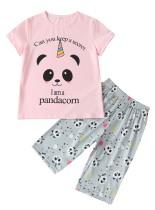 Kinder Mädchen Sommer Print zweiteilige Hosen Pyjama Set