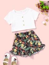 Kids Girl Summer White Shirt und Blumenshorts