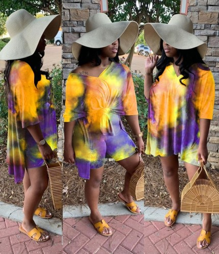 Ensemble chemise et short assortis deux pièces Summer Tie Dye