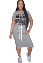 Summer Print Drawstrings Shirt Dress