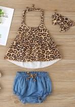 Conjunto de pantalones cortos de tres piezas con estampado de verano para niña