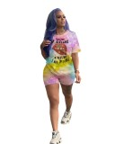 Summer Tie Dye Zweiteiliges Matching Shirt und Short Set