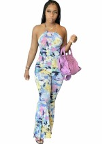 Sexy Tie Dye African Halfter Overall