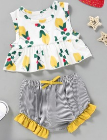 Kids Girl Summer Print Zweiteiliges Shorts-Set