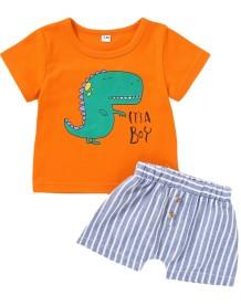 Crianças menino verão impressão conjunto de duas peças Shorts