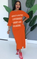 Casual Print O-Neck Langes Hemdkleid