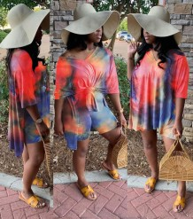 Summer Tie Dye Two Piece Matching Shirt and Short Set