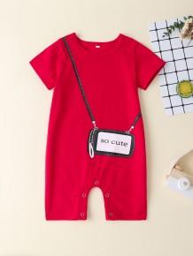 Combinaison à manches courtes imprimé bébé fille