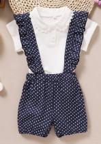 Kids Girl Summer White Shirt und Polka Blue Shorts