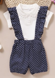 Kids Girl Summer White Shirt und Polka Blue Shorts