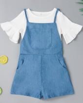 Kids Girl Summer White Shirt und Jeans-Strampler