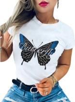 Белая футболка с круглым вырезом с летним принтом