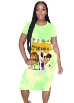 Sommer Cartoon Print Long Shirt Kleid