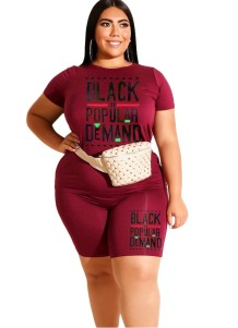 Plus Size Summer Print Sexy Two Piece Shorts Set