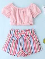 Conjunto de pantalones cortos de dos piezas de verano para niñas