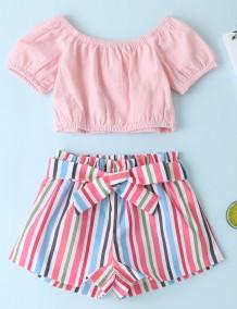 Crianças menina verão conjunto de duas peças de calções