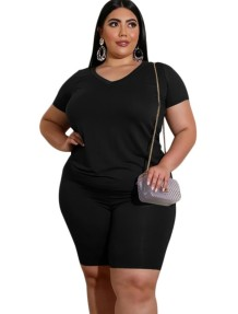 Plus Size Summer Sheer Two Piece Shorts Set