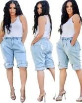 Pantalones cortos de mezclilla casual azul claro de verano