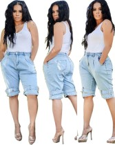 Summer Light Blue Casual Denim Shorts