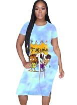 Summer Cartoon Print Long Shirt Dress