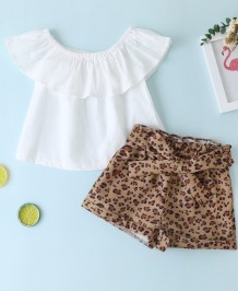 Kids Girl Summer White Shirt und Leopard Shorts
