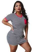 Plus Size Summer Stripes Bodycon Shirt Dress