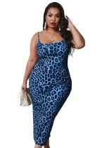 Plus Size Straps Leopard Midi Dress