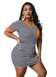 Plus Size Summer Stripes Bodycon Shirt Dress