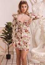 Mini vestido de fiesta de manga larga floral vintage
