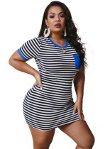 Plus Size Summer Stripes Bodycon Hemdkleid