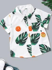 Kids Boy Summer Print Weißes Hemd