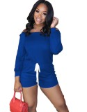Casual Off the Shoulder Drawstring Rompers with Full Sleeves