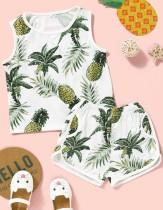 Conjunto de pantalones cortos de dos piezas con estampado de verano para niña
