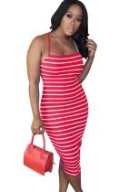 Summer Stripes Neckholder Long Fit Kleid